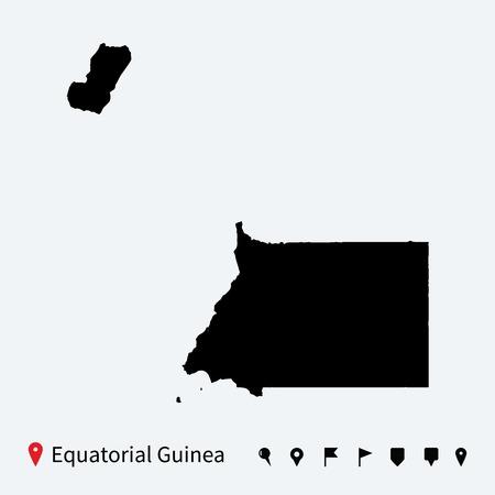 guinea equatoriale: Alta mappa vettoriale dettagliata di Guinea Equatoriale con perni Vettoriali