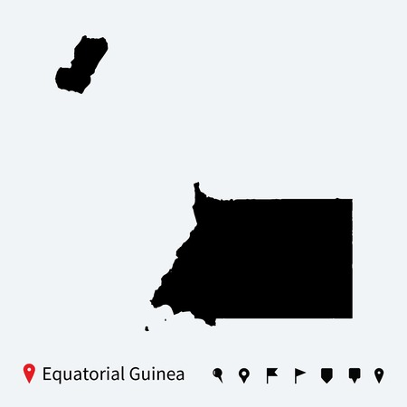 equatorial guinea: High detailed vector map of Equatorial Guinea with pins