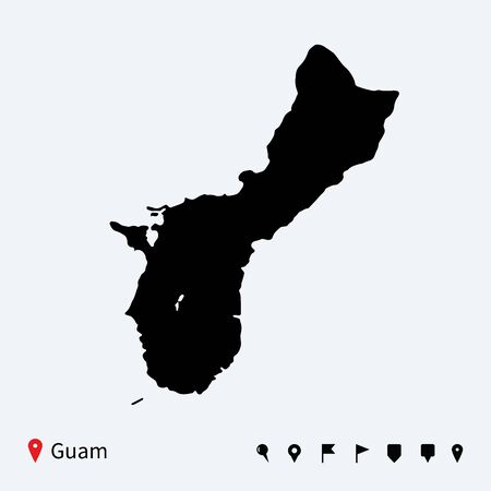 guam: High detailed vector map of Guam with navigation pins