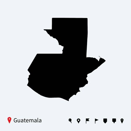 High detailed vector map of Guatemala with navigation pins  Vector