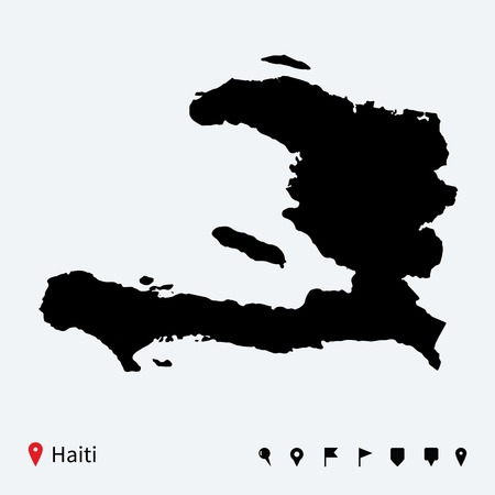 High detailed vector map of Haiti with navigation pins  Vector