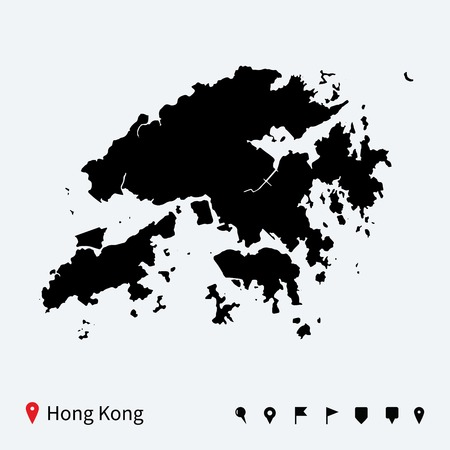 hong kong skyline: High detailed vector map of Hong Kong with navigation pins