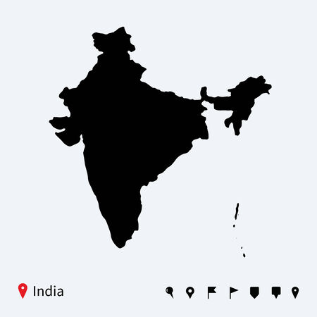 india city: High detailed vector map of India with navigation pins