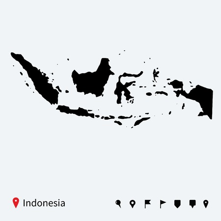 High detailed vector map of Indonesia with navigation pins