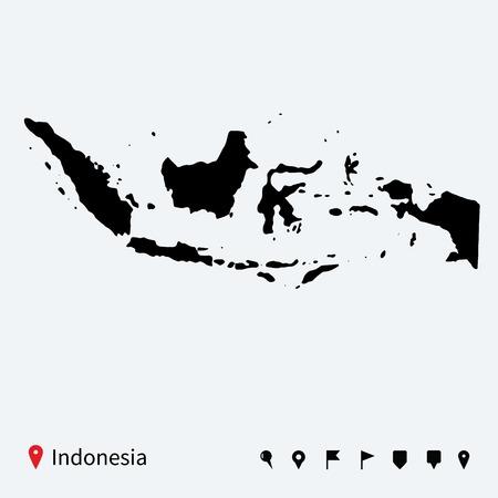 Hohe detaillierte Vektor-Karte von Indonesien mit Navigations Stifte