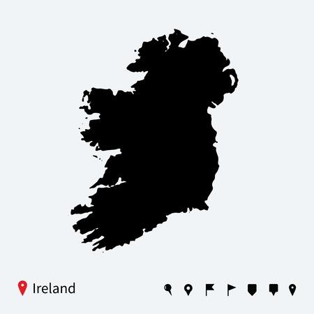 ナビゲーションのピンを持つアイルランドの高い詳細なベクトル地図