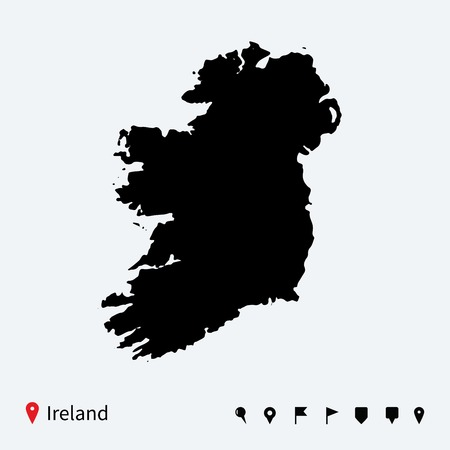 High detailed vector map of Ireland with navigation pins  Illustration