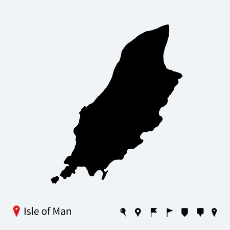 High detailed vector map of Isle of Man with navigation pins