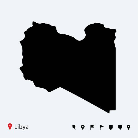 high detailed: High detailed vector map of Libya with navigation pins