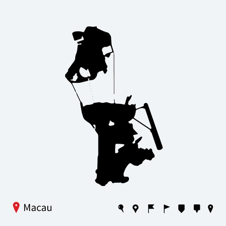 macau: High detailed vector map of Macau with navigation pins  Illustration