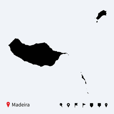 madeira: High detailed vector map of Madeira with navigation pins