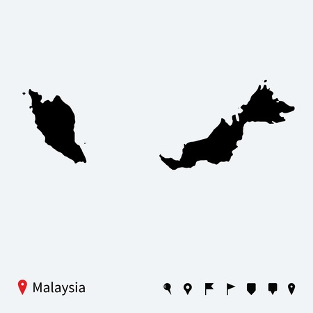malaysia: High detailed vector map of Malaysia with navigation pins
