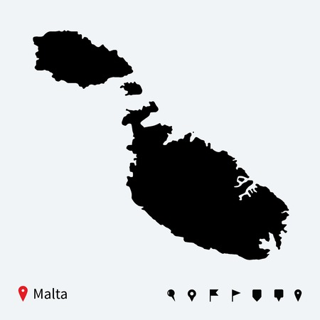 malta cities: High detailed vector map of Malta with navigation pins  Illustration