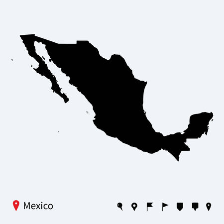 High detailed vector map of Mexico with navigation pins  Vector