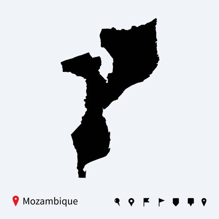 mozambique: High detailed vector map of Mozambique with navigation pins  Illustration