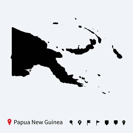 papouasie: Haute carte vectorielle d�taill�e de la Papouasie-Nouvelle-Guin�e avec des �pingles