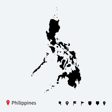 Hoge gedetailleerde vector kaart van Filippijnen met navigatie pinnen Stock Illustratie