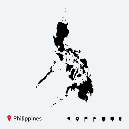 High detailed vector map of Philippines with navigation pins