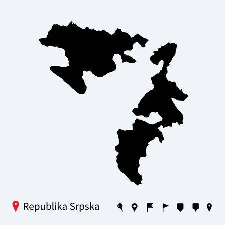 republika: High detailed vector map of Republika Srpska with pins
