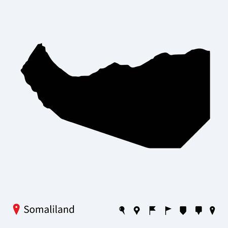 somaliland: High detailed vector map of Somaliland with navigation pins