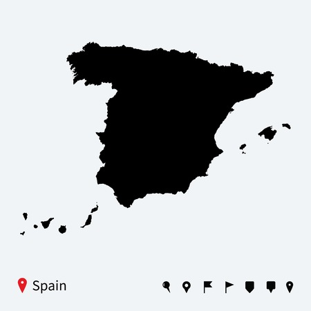 High detailed vector map of Spain with navigation pins