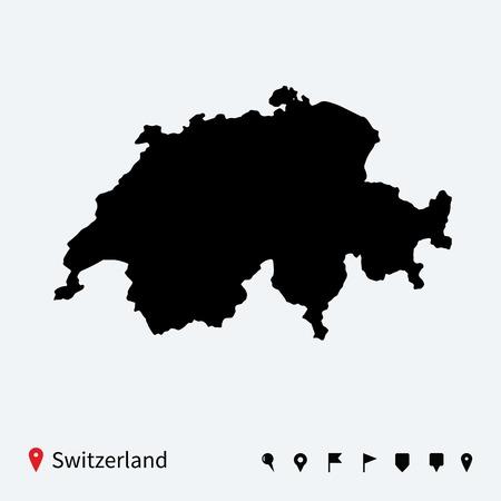 Hohe detaillierte Vektor-Karte der Schweiz mit Navigations Stifte