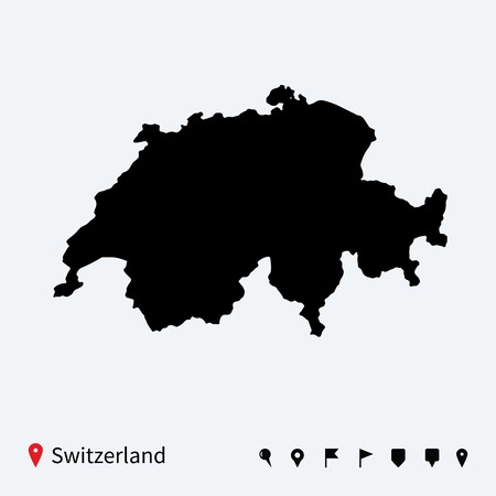 High detailed vector map of Switzerland with navigation pins