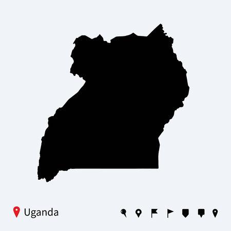 Hoge gedetailleerde vector kaart van Oeganda met navigatie pinnen
