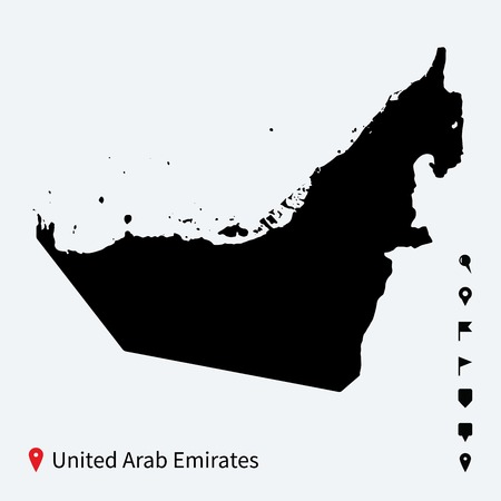 High detailed vector map of United Arab Emirates with pins