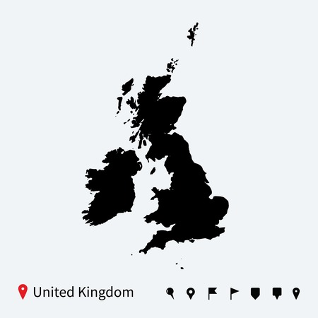 High detailed vector map of United Kingdom with navigation pins