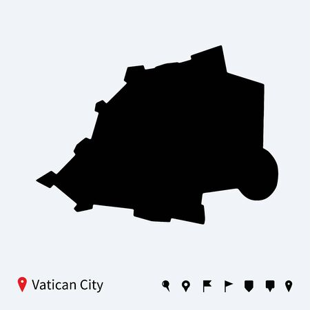 High detailed vector map of Vatican City with navigation pins