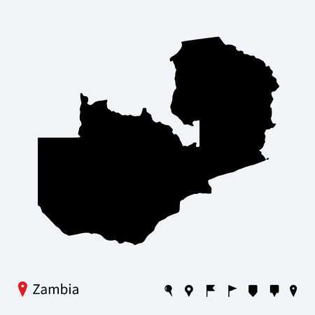 zambia: High detailed vector map of Zambia with navigation pins
