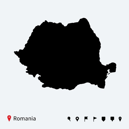 High detailed vector map of Romania with navigation pins  Vector