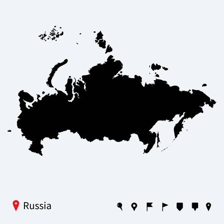 High detailed vector map of Russia with navigation pins