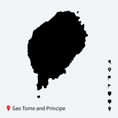 principe: Mapa de alta vectorial detallado de Santo Tom� y Pr�ncipe con alfileres Vectores