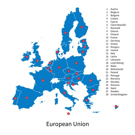 education in sweden: Detailed vector map of European Union and European countries Illustration