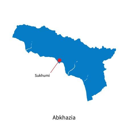 abkhazia: Detailed vector map of Abkhazia and capital city Sukhumi
