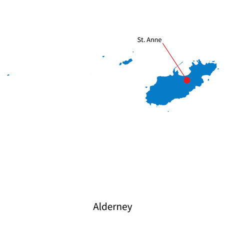 Detailed vector map of Alderney and capital city St. Anne