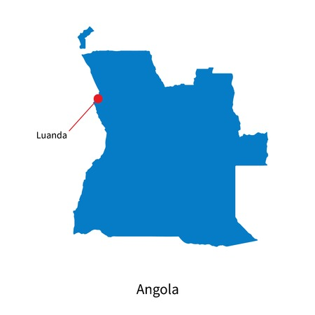 map of angola: Detailed vector map of Angola and capital city Luanda Illustration