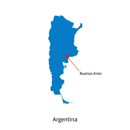 aires: Detailed vector map of Argentina and capital city Buenos Aires Illustration