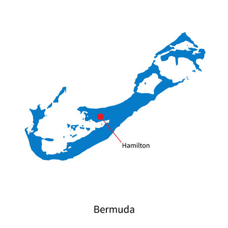 bermuda: Detailed vector map of Bermuda and capital city Hamilton