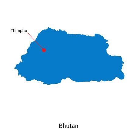 bhutan: Gedetailleerde vector kaart van Bhutan en hoofdstad Thimphu