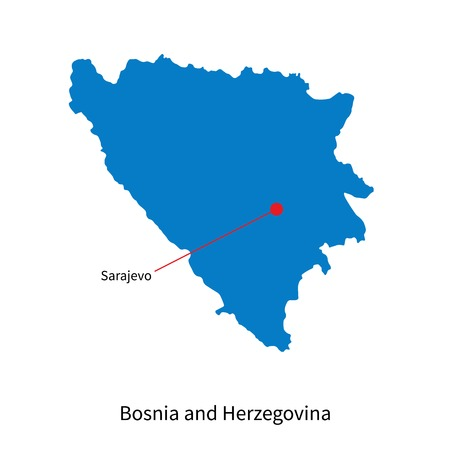 Detailed vector map of Bosnia and Herzegovina and capital city Sarajevo Vector