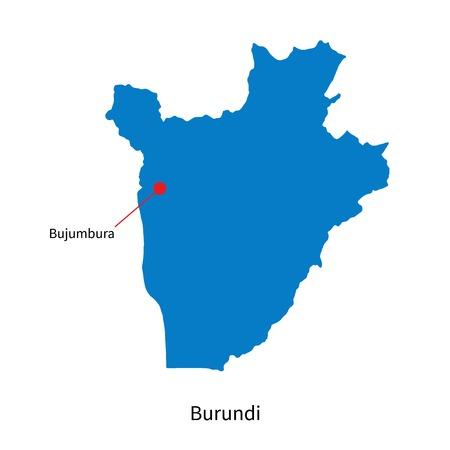 bujumbura: Detailed vector map of Burundi and capital city Bujumbura Illustration