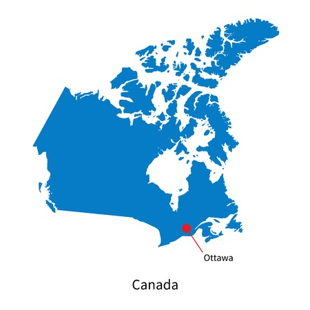Detailed Vector Map Of Canada And Capital City Ottawa Royalty Free - Us and canada vector map