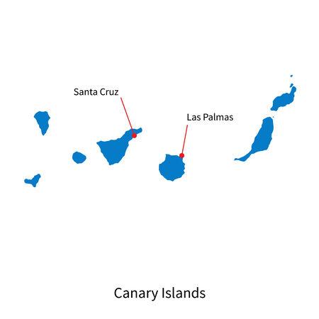 canary islands: Detailed vector map of Canary Islands and capital city Santa Cruz Illustration
