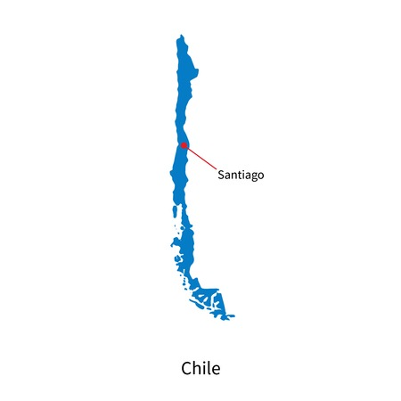 santiago: Detailed vector map of Chile and capital city Santiago