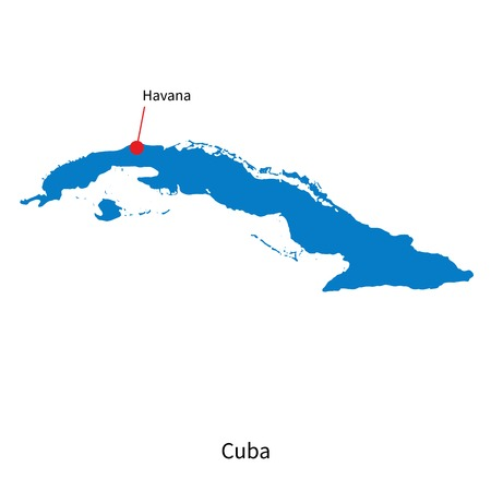 havana cuba: Detailed vector map of Cuba and capital city Havana
