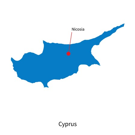 southeastern asia: Detailed vector map of Cyprus and capital city Nicosia
