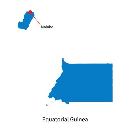 guinea equatoriale: Dettagliata mappa vettoriale della Guinea Equatoriale e la capitale Malabo